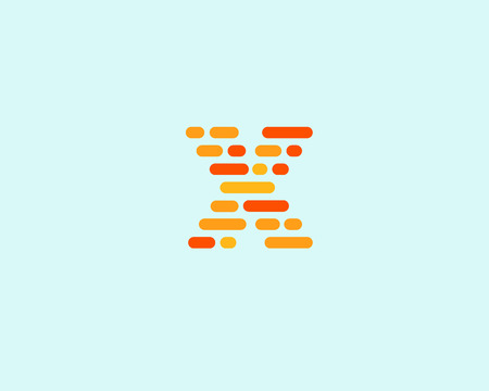 letter blocks: Abstract letter X   design template.  Dynamic code vector unusual font. Universal fast speed moving dots atoms blocks color symbol. Flow structure energy data activity