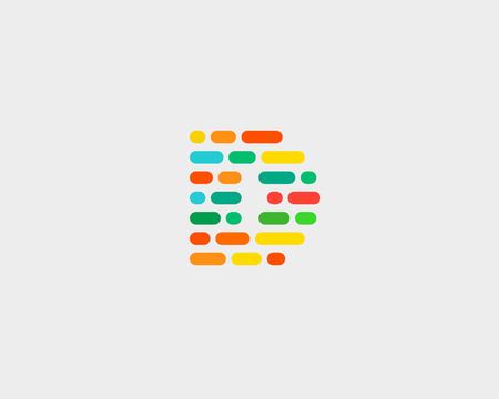 d data: Abstract letter D   design template.  Dynamic code vector unusual font. Universal fast speed moving dots atoms blocks color symbol. Flow structure energy data activity