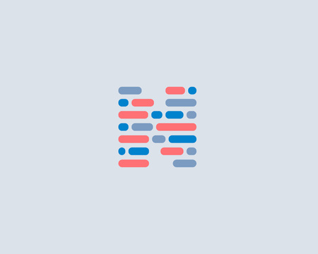 letter blocks: Abstract letter N   design template.  Dynamic code vector unusual font. Universal fast speed moving dots atoms blocks color symbol. Flow structure energy data activity