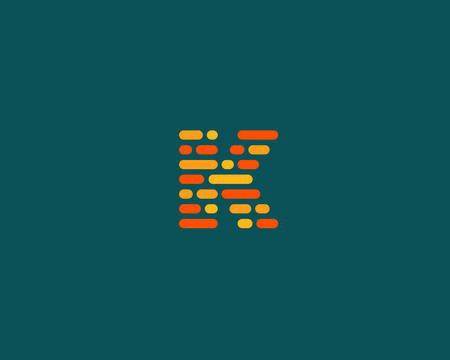letter blocks: Abstract letter K   design template.  Dynamic code vector unusual font. Universal fast speed moving dots atoms blocks color symbol. Flow structure energy data activity Illustration