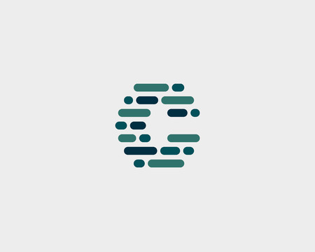 letter blocks: Abstract letter C   design template.  Dynamic code vector unusual font. Universal fast speed moving dots atoms blocks color symbol. Flow structure energy data activity