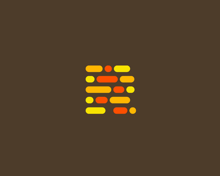 letter blocks: Abstract letter R logo design template.  Dynamic code vector unusual font. Universal fast speed moving dots atoms blocks color symbol. Flow structure energy data activity