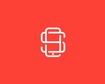 S の文字のロゴデザイン。スマート フォンには、シンボルが並んでいた。携帯電話の創造的な記号。Phablet, タブレット PC ガジェット マーク  イラスト・ベクター素材