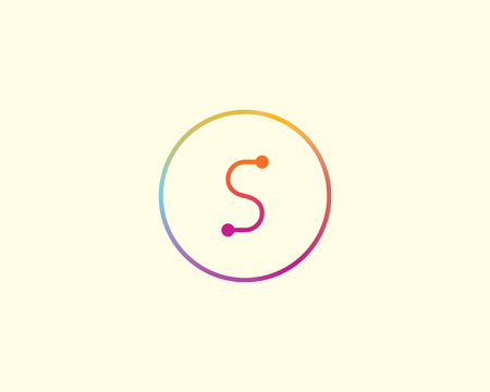 Abstract letter S logo design template. Colorful lined creative sign. Universal vector icon