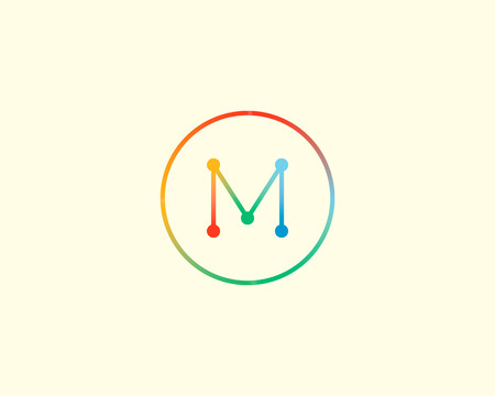 mono color: Abstract letter M logo design template. Colorful lined creative sign. Universal vector icon Illustration