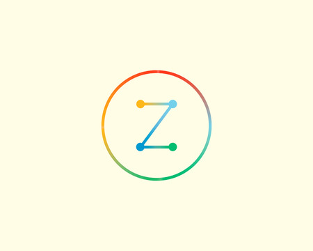 mono color: Abstract letter Z logo design template. Colorful lined creative sign. Universal vector icon Illustration
