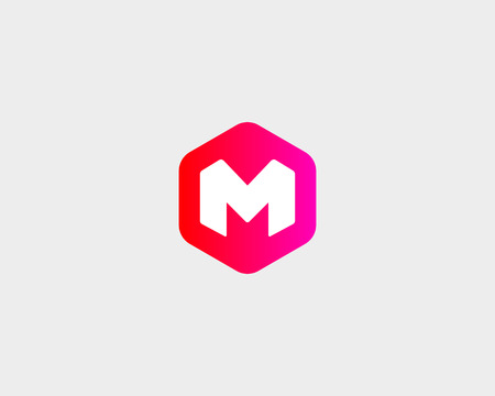 Abstract letter M, W logo design template. Colorful creative hexagon sign. Universal vector icon