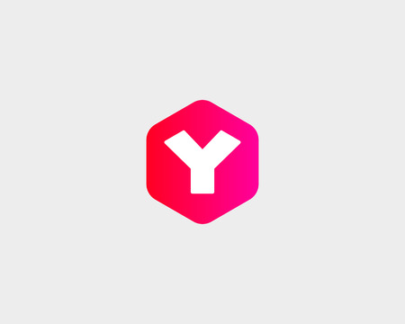 trendy shape: Abstract letter Y logo design template. Colorful creative hexagon sign. Universal vector icon