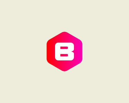 Résumé modèle de conception de logo lettre B. Colorful signe hexagone créative. icône vecteur universel