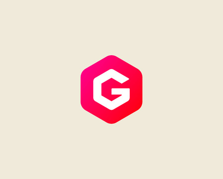 Abstract letter G logo design template. Colorful creative hexagon sign. Universal vector icon