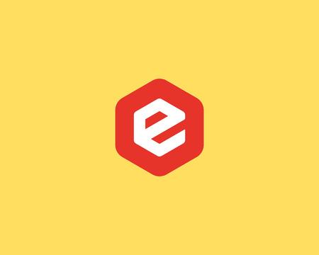 e business: Abstract letter E logo design template. Colorful creative hexagon sign. Universal vector icon
