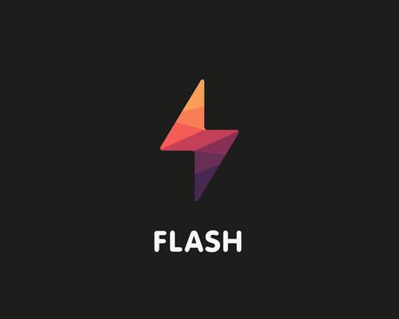 t shirt print: Flash Logo design vector illustration. Fast quick polygon symbol. Rapid thunderbolt  colorful icon, t shirt print graphics, apparel fashion tee design