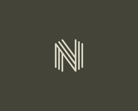 Abstract letter N icon design template. Line creative sign. Universal vector icon