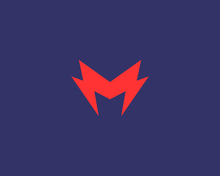 rapid: Abstract letter M icon. Dynamic unusual font. Universal fast speed fire moving quick energy icon. Flash vector icon. Rapid thunderbolt  superhero t shirt print, apparel fashion tee symbol