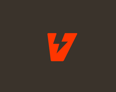 Abstract letter V icon. Dynamic unusual font. Universal fast speed fire moving quick energy icon. Flash vector icon. Rapid thunderbolt superhero t shirt print, apparel fashion tee symbol