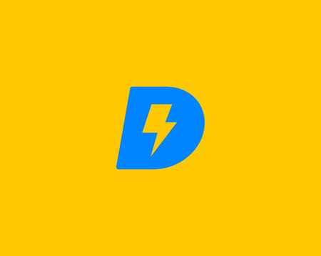 rapid: Abstract letter D icon. Dynamic unusual font. Universal fast speed fire moving quick energy icon. Flash vector icon. Rapid thunderbolt  superhero t shirt print, apparel fashion tee symbol