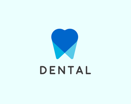 Dentist icon design template. Tooth creative symbol. Dental clinic vector sign heart overlap mark icon