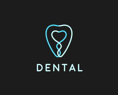 dental braces: Dentist icon design template. Tooth creative line symbol. Dental clinic vector sign mark icon