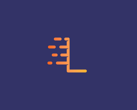 Abstract letter L icon design template.  Dynamic vector unusual line font. Universal fast speed fire moving water quick energy drop icon symbol mark