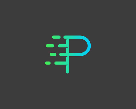 modèle de conception icône lettre P abstrait. vecteur dynamique de police de la ligne inhabituelle. feu de vitesse rapide Universal eau en mouvement goutte d'énergie rapide symbole de l'icône marque