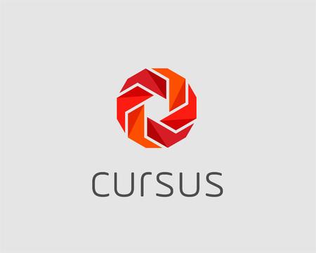 Abstract cube logo design template. Geometric energy sun flower sign. Universal vector icon. Illustration