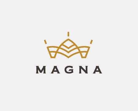 Abstract flower logo icon vector design. Crown symbol. Elegant house hotel architecture logotype. Royal king line emblem Logo