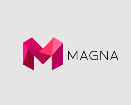 Abstract trend polygon letter M logo design template. Art tech media app creative sign. Stock Illustratie