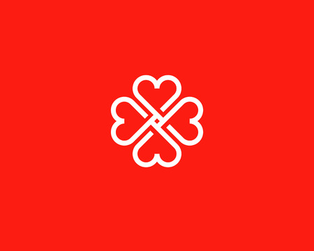child care: Four hearts social vector symbol. Heart cross logotype. Abstract line flower leaf medical logo icon sign