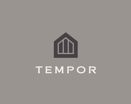 luxury home exterior: Abstract house logo design template. Premium real estate finance sign.