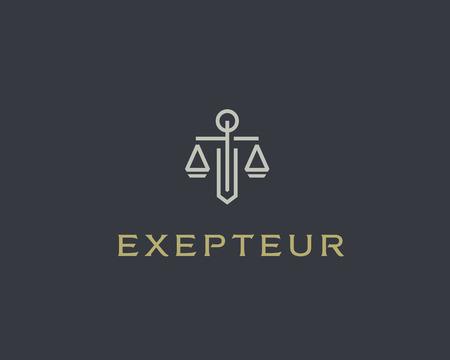 Advocatenkantoor lijn trend logo pictogram vector ontwerp. Universal wettelijk, advocaat, schalen zwaard kolom idee creatieve premium symbool