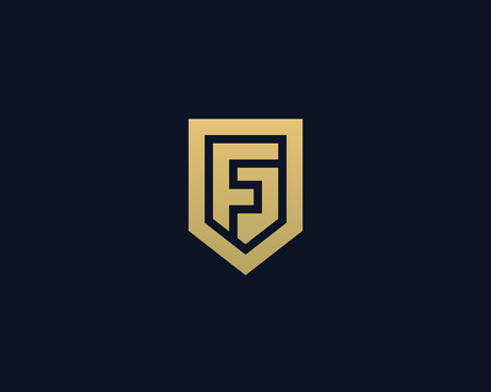 nominal: Abstract letter F shield logo design template. Premium nominal monogram business sign. Universal foundation vector icon