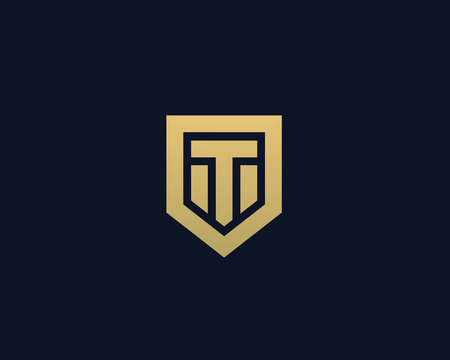 nominal: Abstract letter T shield logo design template. Premium nominal monogram business sign. Universal foundation vector icon