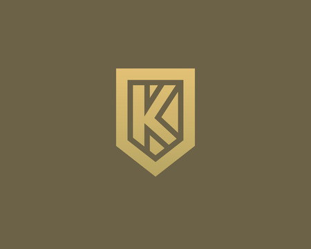 nominal: Abstract letter K shield logo design template. Premium nominal monogram business sign. Universal foundation vector icon Illustration