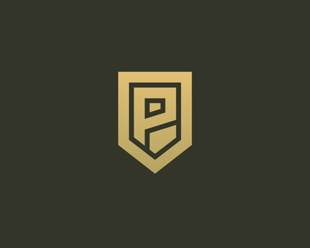 nominal: Abstract letter P shield logo design template. Premium nominal monogram business sign. Universal foundation vector icon