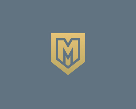 nominal: Abstract letter M shield logo design template. Premium nominal monogram business sign. Universal foundation vector icon