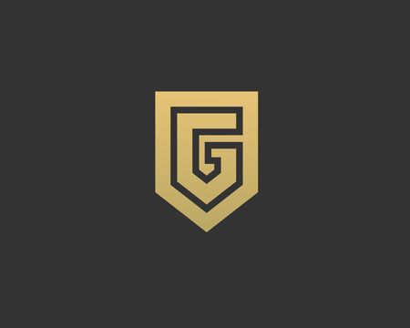Abstract letter G shield logo design template. Premium nominal monogram business sign. Universal foundation vector icon
