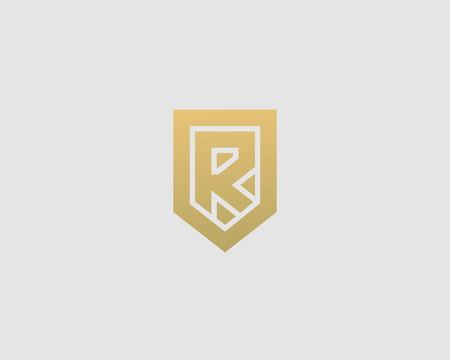 nominal: Abstract letter R shield logo design template. Premium nominal monogram business sign. Universal foundation vector icon