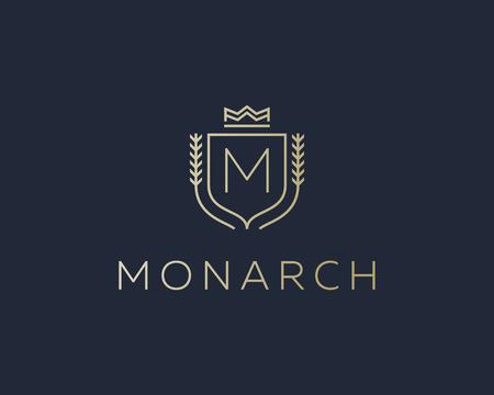 initials: Premium monogram letter M initials ornate signature . Elegant crest icon vector design. Luxury shield crown sign Illustration
