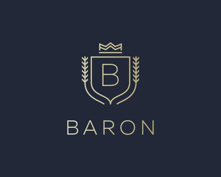 initials: Premium monogram letter B initials ornate signature . Elegant crest icon vector design. Luxury shield crown sign