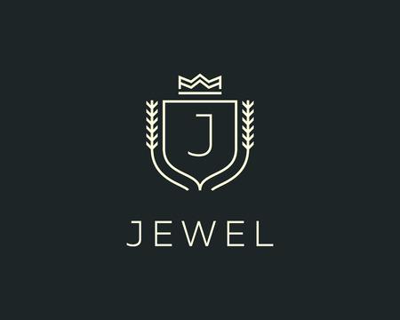 initials: Premium monogram letter J initials ornate signature . Elegant crest icon vector design. Luxury shield crown sign