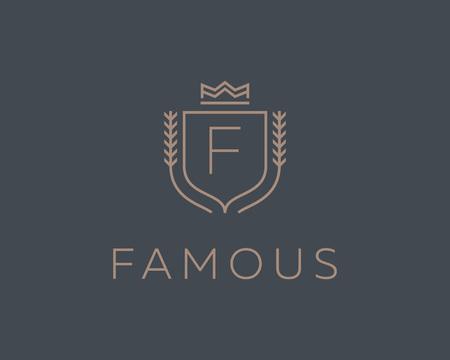 initials: Premium monogram letter F initials ornate signature . Elegant crest icon vector design. Luxury shield crown sign
