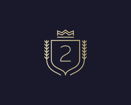 elite sport: Premium number 2 ornate . Elegant numeral crest icon vector design. Luxury figure shield crown sign. Concept for print or t-shirt design.