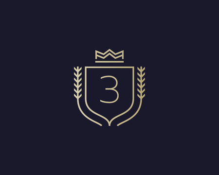 elite sport: Premium number 3 ornate . Elegant numeral crest icon vector design. Luxury figure shield crown sign. Concept for print or t-shirt design.