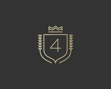 elite sport: Premium number 4 ornate . Elegant numeral crest icon vector design. Luxury figure shield crown sign. Concept for print or t-shirt design.