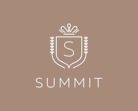 king s: Elegant monogram letter S . Premium crest design. Shield, royal crown symbol. Print, t-shirt design shape