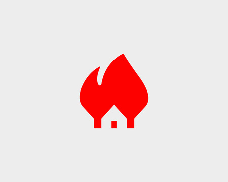 house on fire: House fire design. Flame home insurance vector symbol Illustration