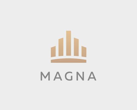 royal house: Abstract city town icon vector design. Crown symbol. Elegant house hotel architecture. Royal graph diagram king premium emblem.