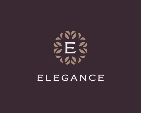 Premium monogram letter E initials. Universal symbol icon vector design. Luxury abc leaf