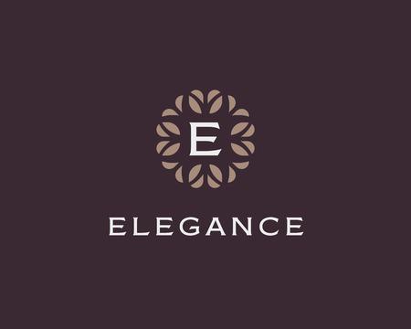 initials: Premium monogram letter E initials. Universal symbol icon vector design. Luxury abc leaf