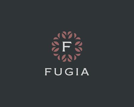 initials: Premium monogram letter F initials. Universal symbol icon vector design. Luxury abc leaf Illustration
